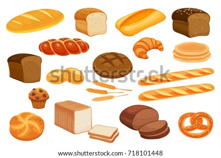 set vector bread icons rye and