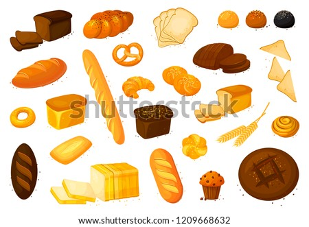 Set vector bread icons. Vector illustration isolated on a white background. Bakery product in cartoon style. Rye, whole grain and wheat bread, pretzel, muffin, pita , ciabatta, croissant, bagel, toast
