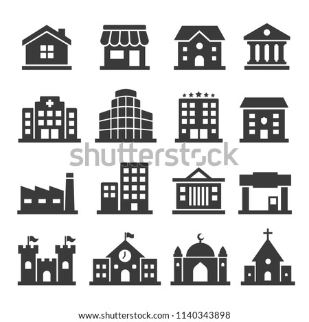 Set vector building icons