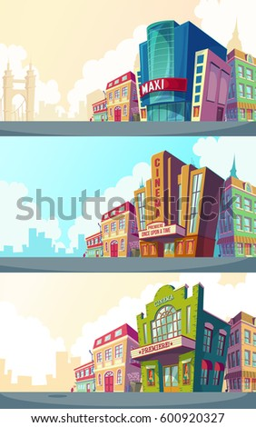 stock-vector-set-vector-cartoon-illustration-of-an-urban-landscape-with-the-buildings-of-old-and-modern-cinemas