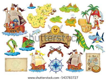 Stock Photo Set Vector cartoon illustration Treasure Hunters.