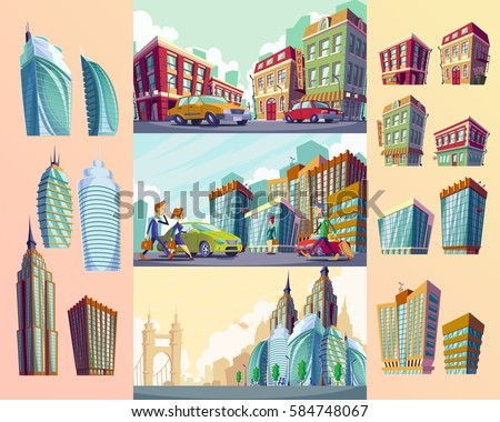 Set vector cartoon illustrations of an old buildings, urban large modern buildings, cars and urban residents.