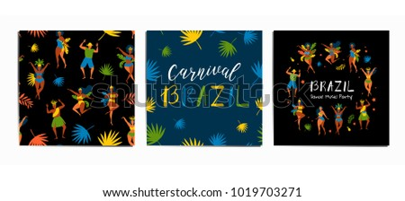 Set vector characters. Set of brazilian samba dancers of the carnival in Rio de Janeiro with seamless pattern, lettering design. Vector illustration in retro flat style with carnival women and men. #1019703271