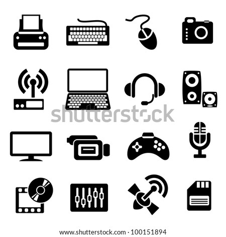 set vector computer icons of computer devices and communication
