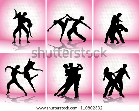 set vector dance couple silhouettes