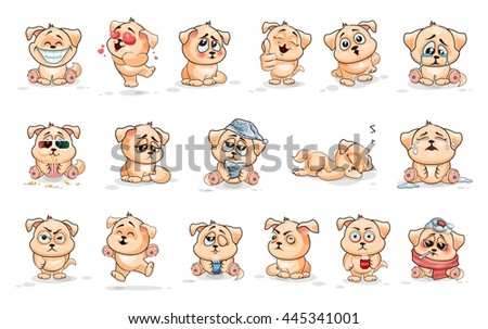 Set Vector. drawing on a white background. Stock Illustrations isolated Emoji character cartoon dog stickers emoticons with different emotions for site, infographics, animation, reports, comics
