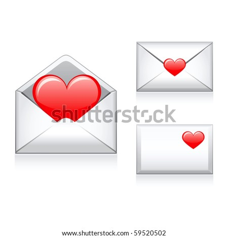 Set vector e mail,envelop icons with heart. - stock vector