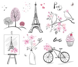 set vector elements - hand drawn illustration. Sticker with eiffel tower, bird, hearts, tree, bicycle, spring flowers and cake. Cute Pink print. Lettering - Paris