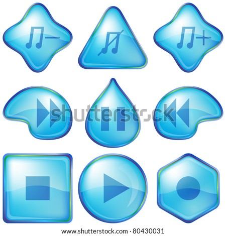 Set vector eps10 various icons, water media player playback buttons
