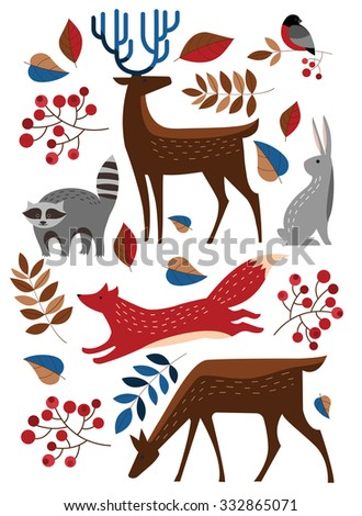 set vector forest animals