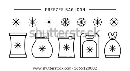 Set vector frozen food bag icon outline. Symbol linear illustration of packaging for frozen and vacuumed food. Containers and bags for food semi-finished products frozen. Stock photo ©