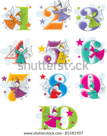 set vector funny cartoon numbers with elves