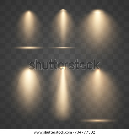 set vector golden spotlights