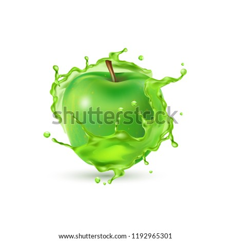 set  vector green apple  with