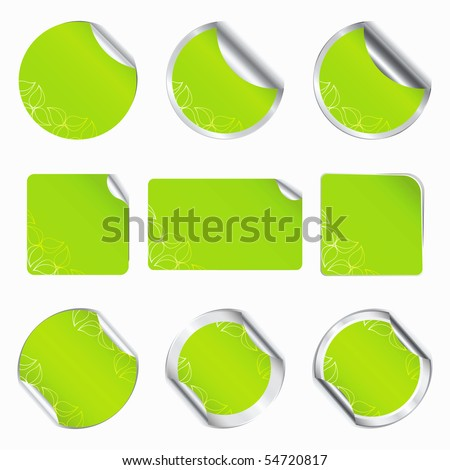 Set vector green eco stickers