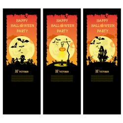 Set vector Halloween banner with pumpkins, ghosts, cat and scary house on orange gradient background
