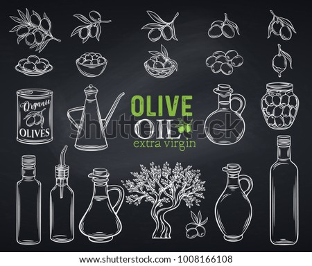 Set vector hand drawn olives, tree branches, glass bottle, jug , metal dispenser and olive oil. Illustration outline in chalkboard sketch style,white on black.