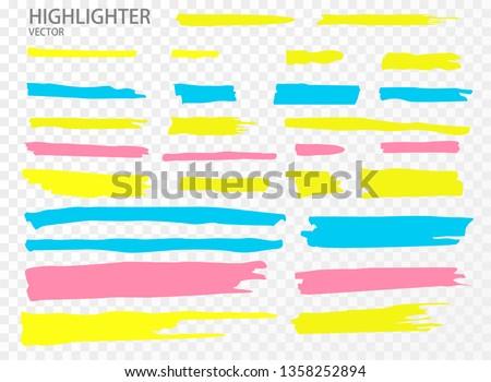 Set Vector highlighter. Hand drawn color highlight marker stripes. Vector illustration EPS10