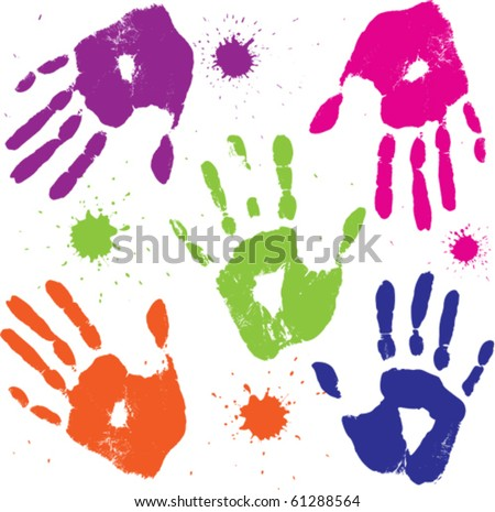 set vector human hand prints