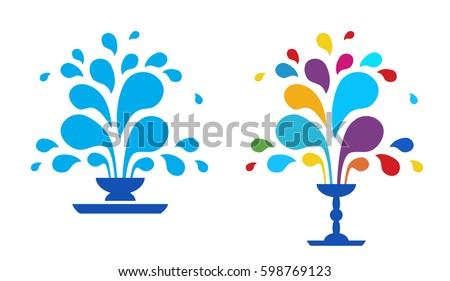 set vector icon fountain logo