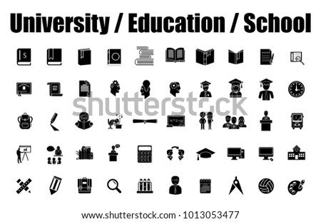 Set vector icons in flat design education, school and university with elements for mobile concepts and web apps