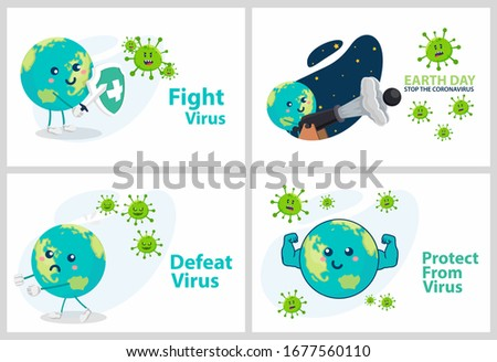 Set vector illustration against corona covid-19 virus. cure corona virus. Earth is against the concept of a virus. the concept of the corona virus vaccine. end of 2019-ncov. don't be afraid of the cor