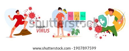 Set vector illustration against corona covid-19 virus. cure corona virus. Earth is against the concept of a virus. the concept of the corona virus vaccine. end of 2019-ncov. don't be afraid of the cor Foto stock ©