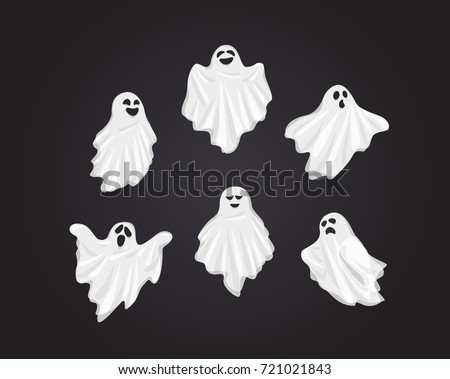 Set Vector Illustration and cartoon on dark background : Whisper Ghost cover fabric white. Ghost character Costume evil or Character creepy funny cute. Party celebrate Halloween night holiday. Foto d'archivio ©