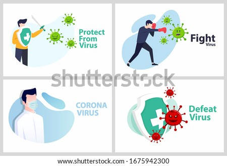 Set Vector illustration covid-19 coronavirus. cure coronavirus. people Fight, Defeat, Protect virus concept. corona viruses vaccine concept. end of 2019-ncov.