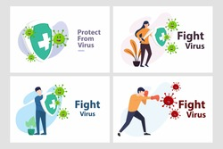Set Vector illustration fight covid-19 corona virus. cure corona virus. people fight virus concept. corona viruses vaccine concept. end of 2019-ncov. don't be afraid of the corona virus concept.