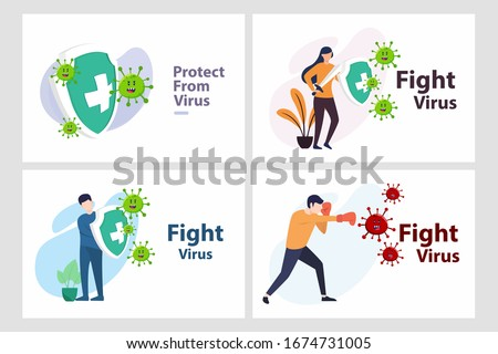 Set Vector illustration fight covid-19 corona virus. cure corona virus. people fight virus concept. corona viruses vaccine concept. end of 2019-ncov. don't be afraid of the corona virus concept.