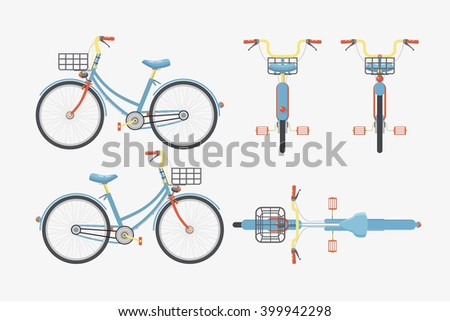 Set vector illustration isolated eco-friendly bike front, side, back view flat style gray background Element for site, infographic, video, animation, website, e-mail, newsletter, reports, comic, icon