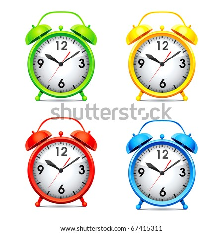Set vector  illustration of a alarm clock.
