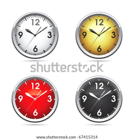 Set vector  illustration of a clock.