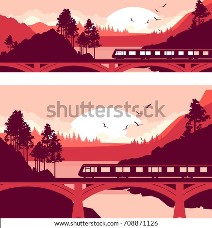 Set Vector illustration of a locomotive, a train at high speed on a railway bridge in a mountain landscape