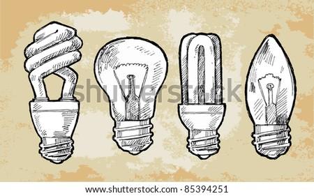 Set vector illustration of light bulb