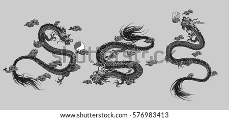Set vector illustration Traditional Chinese dragon  background. Isolated object.Template design.