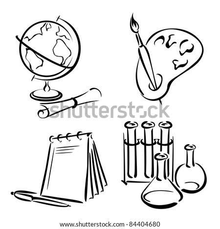 set vector image of items for school