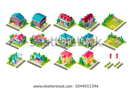 Set vector isolated isometric illustration country house vacation home, penthouse, bus station public transport stop road fire hydrant right left view playground children infrastructure element icon