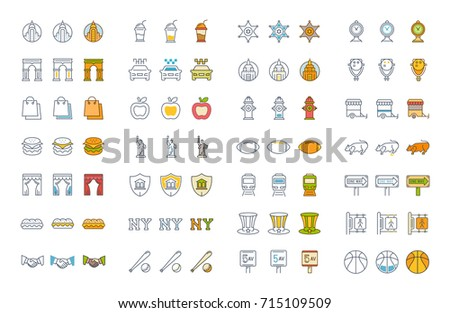 set vector line and color icons