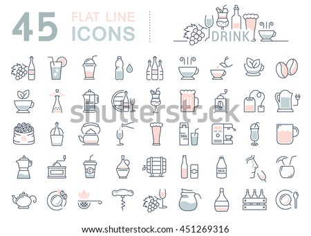 Set vector line icons drinks and alcohol: tea, beer, coffee, wine, water, milk and champagne in flat design with elements for mobile concepts and web. Collection modern infographic logo and pictogram.