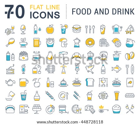 set vector line icons drinks