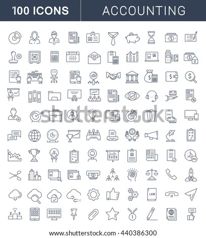 Set vector line icons in flat design accounting, finance and business with elements for mobile concepts and web apps. Collection modern infographic logo and pictogram.