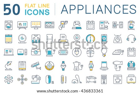 Set vector line icons in flat design appliance, smart devices and gadgets, modern web icons and symbols with elements for mobile concepts and web apps. Collection modern infographic logo and pictogram