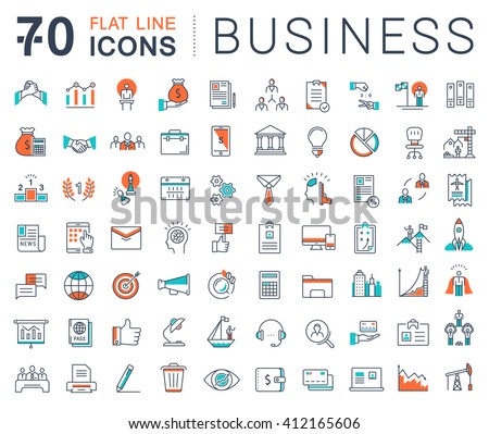 Set vector line icons in flat design business, finance and teamwork with elements for mobile concepts and web apps. Collection modern infographic logo and pictogram.