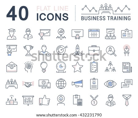 Set vector line icons in flat design business training and development, training course, business meeting with elements for mobile concepts and web apps. Collection modern infographic logo and sign.
