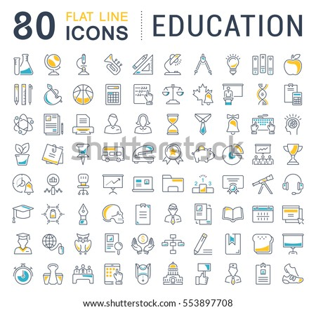 Set vector line icons in flat design education, school and university with elements for mobile concepts and web apps. Collection modern infographic logo and pictogram.