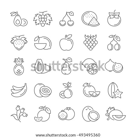 Set vector line icons in flat design Fruit and vegetarian Food with elements for mobile concepts and web apps. Collection modern infographic logo and pictogram.