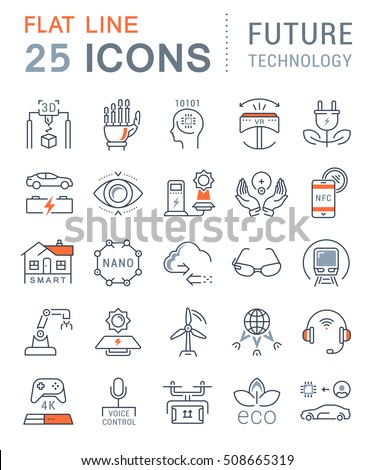 Set vector line icons in flat design future technology, eco energy, smart tech and electric transportation with elements for mobile concepts and web. Collection modern infographic logo and pictogram.