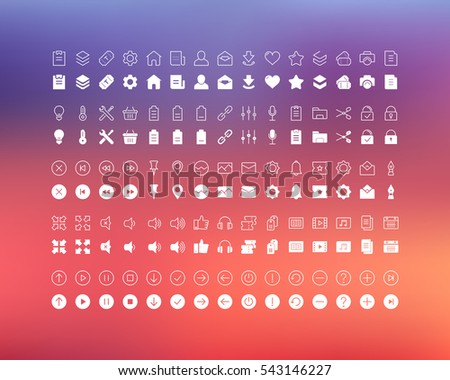 set vector line icons in flat